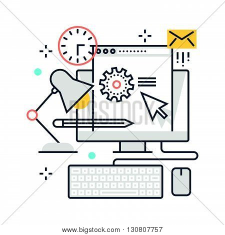 Color Line, Office, Work Hours Concept Illustration, Icon
