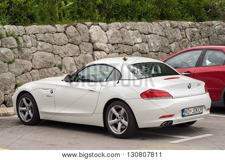 Kotor Montenegro - May 16 2016: BMW Z4 Sportscar in a parking slot on the street