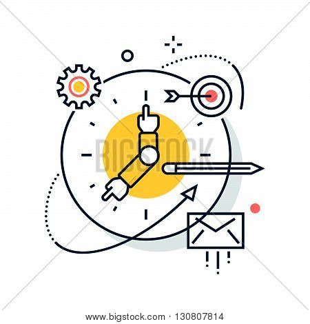 Color Line, Clock, Work Hours Concept Illustration, Icon