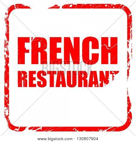 Delicious french cuisine, red rubber stamp with grunge edges
