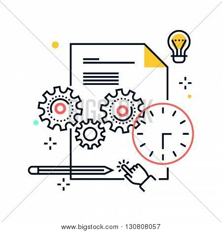 Color Line, Content Management, Gears Concept Illustration, Icon