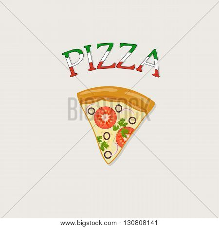 pizza on a tray label - vector illustration
