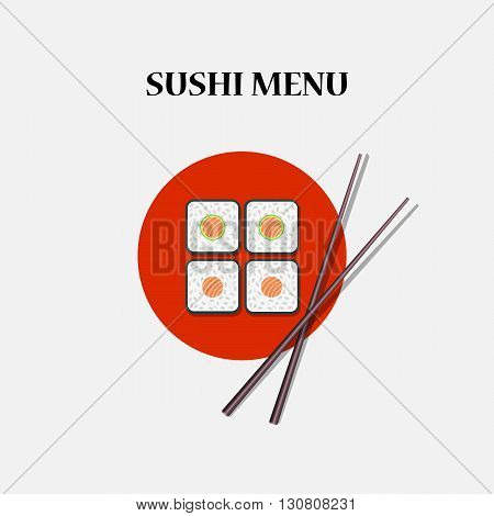 Japanese sushi and rolls - color vector illustration
