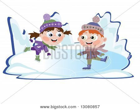 \Winter: Ice skating little girl and boy