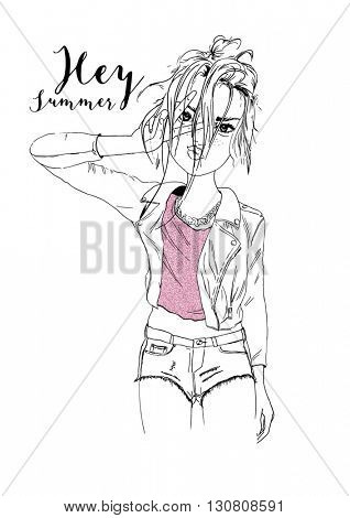 fashion girl with glitter illustration 3