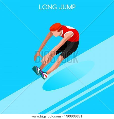 Athletics Long Jump Summer Games Icon Set.3D Isometric Athlete.Sporting Championship International Athletics Competition.Sport Infographic Athletics Long Jump Vector Illustration