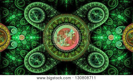 Time Machine. Mechanism and gear galactic hours. Infinity. Eternity. Mysterious psychedelic relaxation wallpaper. Sacred geometry. Fractal abstract pattern.