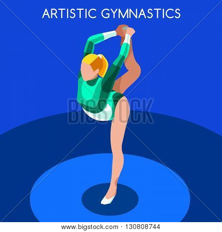 Artistic Gymnastics Floor Exercise  Summer Games Icon Set.3D Isometric Gymnast.Sporting Championship International Competition.Sport Infographic Artistic Gymnastics Vector Illustration
