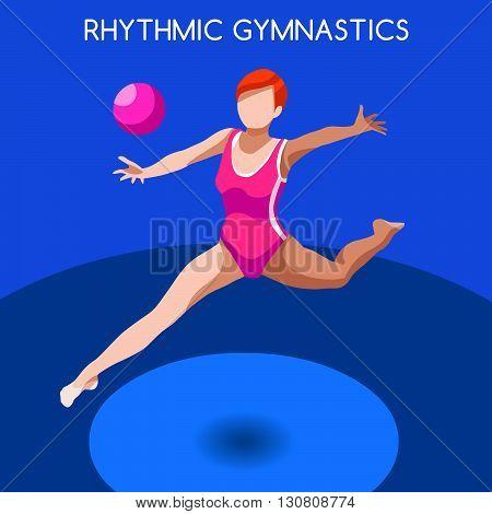 Rhythmic Gymnastics Ball Summer Games Icon Set.3D Isometric Gymnast.Sporting Championship International Competition.Sport Infographic Rhythmic Gymnastics Vector Illustration