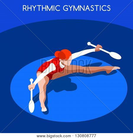 Rhythmic Gymnastics Clubs Summer Games Icon Set.3D Isometric Gymnast.Sporting Championship International Competition.Sport Infographic Rhythmic Gymnastics Vector Illustration.