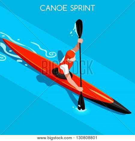 Kayak Sprint Summer Games Icon Set.3D Isometric Canoeist Paddler.Sprint Kayak Sporting Competition Race.Sport Infographic Canoe Kayak Vector Illustration