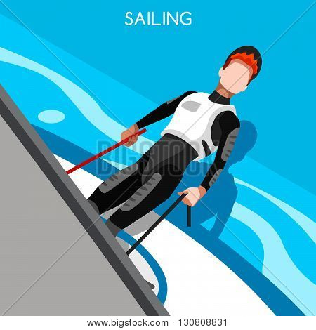 Sailing Race Summer Games Icon Set.3D Isometric Sailor and Laser Class Sailboat.Sailing and Racing Laser One Sporting International Competition Race.Sport Infographic Sailing Vector Illustration