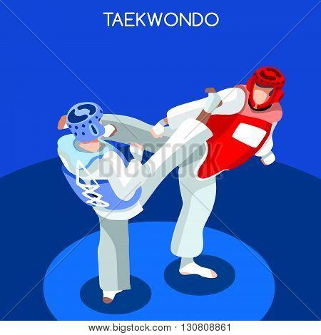 Taekwondo Summer Games Icon Set.3D Isometric Athlete.Sporting Championship International Martial Art Competition.Sport Infographic Taekwondo Vector Illustration