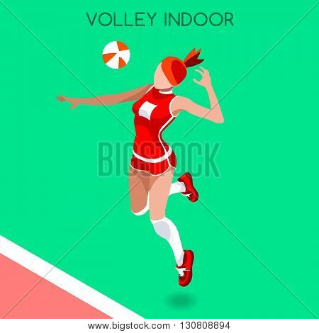 Volleyball Player Summer Games Icon Set.3D Isometric Beach Volleyball.Sporting Championship International Beach Volley Competition.Sport Infographic Volley Vector Illustration
