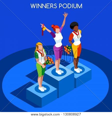 2016 Winner Podium Summer Games Icon Set.Speed Concept.3D Isometric Athlete.Sporting Competition.Sport Infographic Winner Podium Vector Illustration.