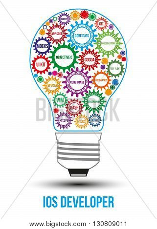 Interconnected colored IOS technology gears composed in form of light bulb to symbolize idea of collaborative work to solve any problem. Use for logotypes business identity print products.