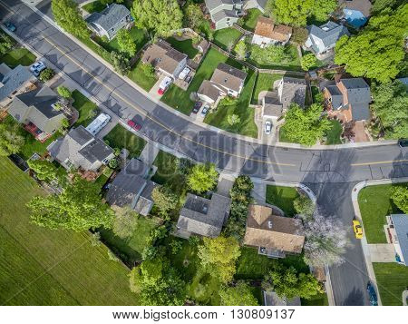 FORT COLLINS, CO, USA - MAY 20, 2016: Aerial  view of typical residential neighborhood along Front Range of Rocky Mountains in Colorado in springtime