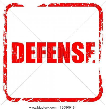defense, red rubber stamp with grunge edges