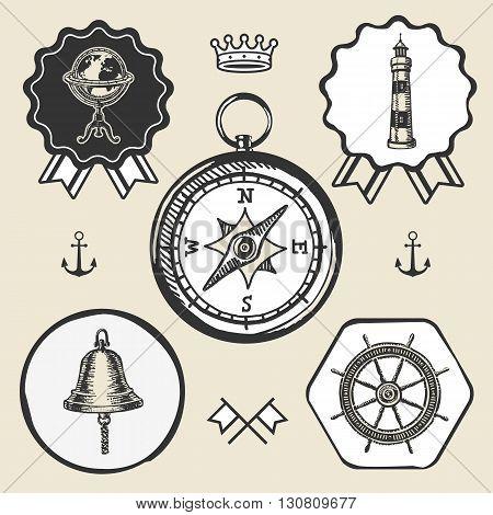 compass bell lighthouse marine nautical vintage navigation location icon flat web sign symbol logo label set