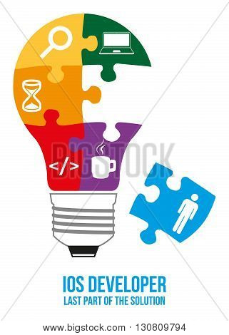 IOS developer design concept. Light bulb composed of interconnected puzzles with different components of programming. Only last piece is missed - that will complete picture - last part of solution.