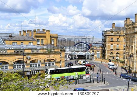 York England UK Europe - May 22 2016 : British Rail train station in the historical City of York