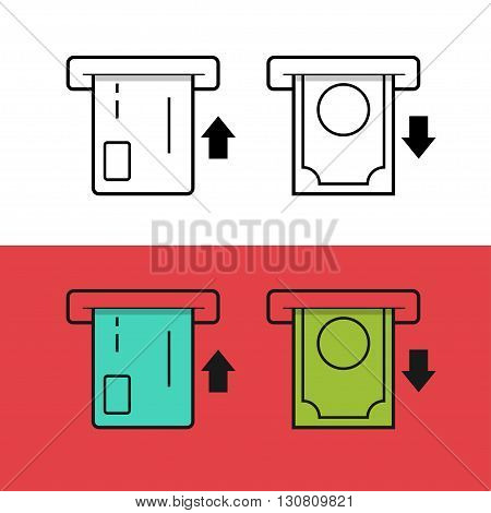 ATM card and money vector icons, cash machine money withdraw, inserting credit card, electronic exchange, thin line flat icons, outline linear pictogram isolated on white red background
