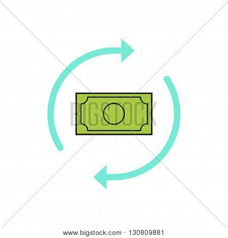 Money arrows vector icon, concept of money exchange, cash convert, conversion, finance, turnover sign, refresh, flat outline style moderns design isolated on white background