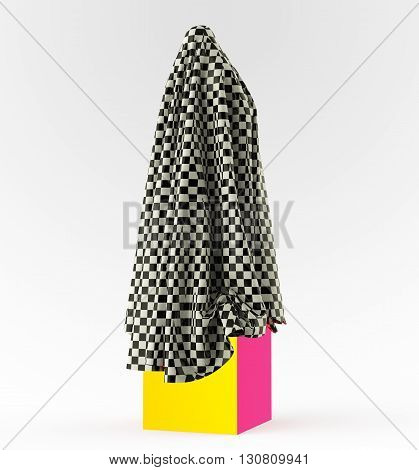 statue on cube podium draped with glossy satin cloth. Before the opening of piece of art concept, 3d rendering
