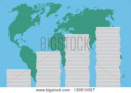 Global business finance map money. World map and global market concept economy and investment success growth. Vector flat design illustration