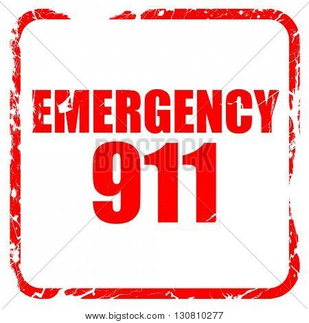 emergency 911, red rubber stamp with grunge edges