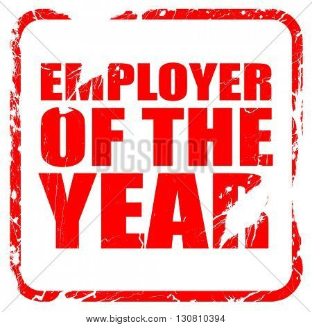 employer of the year, red rubber stamp with grunge edges