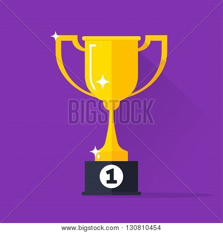 Golden cup vector illustration, gold trophy goblet flat simple icon, concept of award, winner reward, victory cup, champion success achievement, modern design isolated on violet background