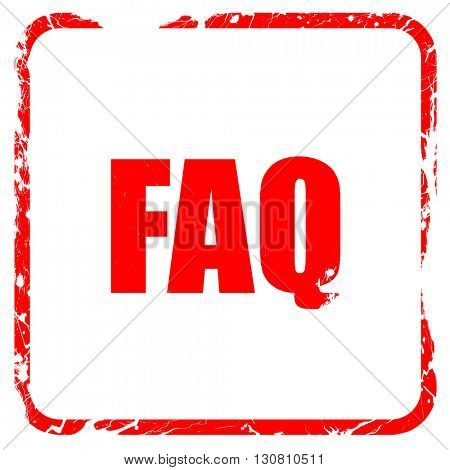 faq, red rubber stamp with grunge edges