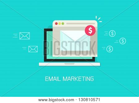 Email marketing vector illustration concept, laptop computer email with browser window, internet digital letter, communication, flat cartoon banner element design isolated on blue background