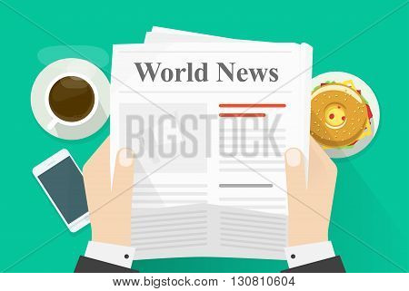Business man hands holding newspaper with world news words headline, abstract text and photo, coffee break, lunch, reading, breakfast, news paper modern design vector illustration isolated on green