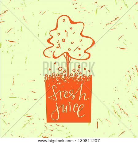 Logo symbol for fresh juice. Fruit tree. Orange tree. Hand drawn fruit design. Vector logotype with drop and fruit.