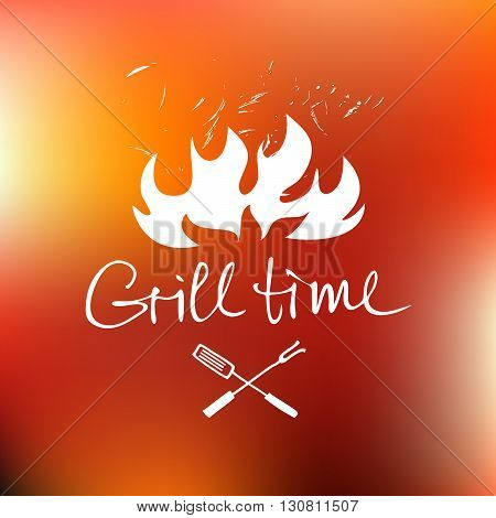 Vector lettering hand drawn logo with red fire background. Illustration for grill time party.  Logo for restaurant and cafe.