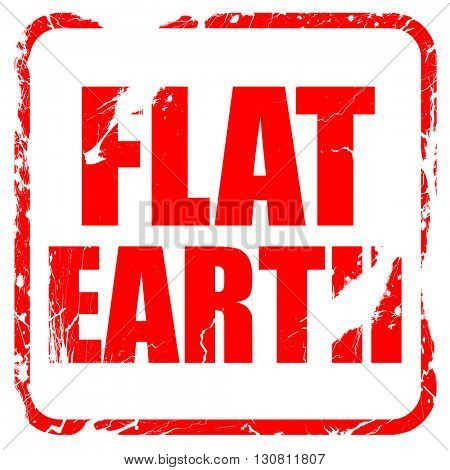 flat earth, red rubber stamp with grunge edges