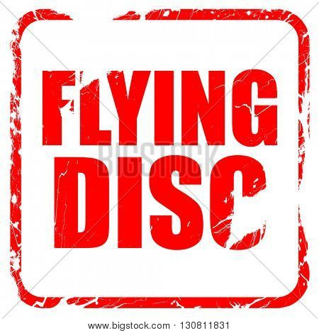 flying disc, red rubber stamp with grunge edges