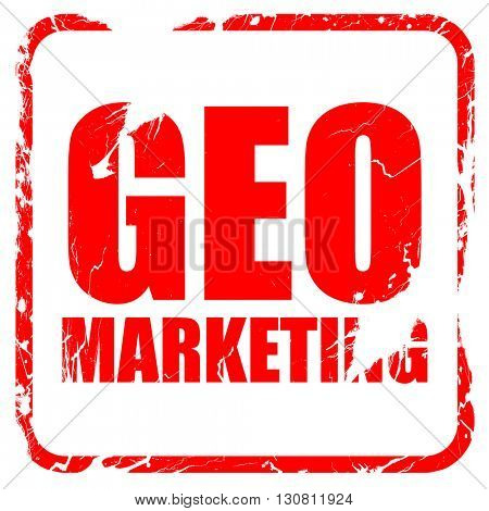 geo marketing, red rubber stamp with grunge edges