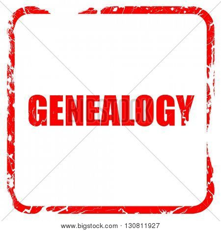 genealogy, red rubber stamp with grunge edges