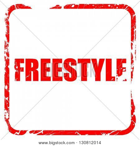freestyle, red rubber stamp with grunge edges