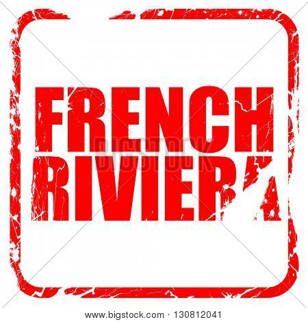 french riviera, red rubber stamp with grunge edges