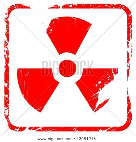 Nuclear danger background, red rubber stamp with grunge edges