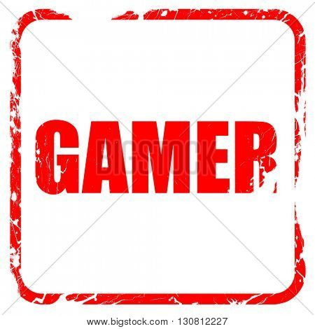 gamer, red rubber stamp with grunge edges