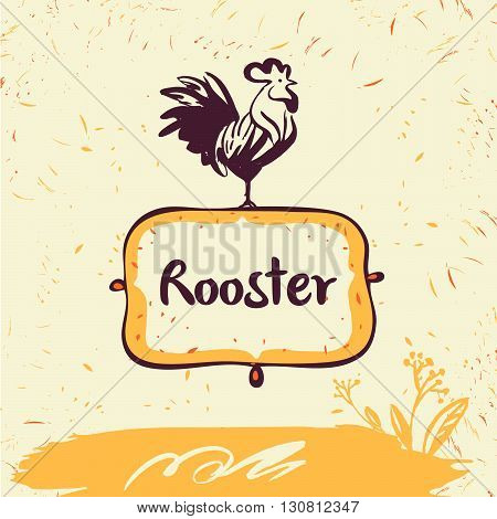 Vector logo. Chicken farm. Products from chicken meat and eggs. Hand drawn illustration rooster on shield.