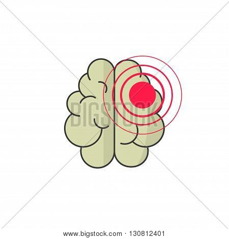 Abstract human brain injury stroke cartoon vector illustration with red dot waves, concept of medical logo, brain illness symbol, disease scan, cancer flat design isolated on white background