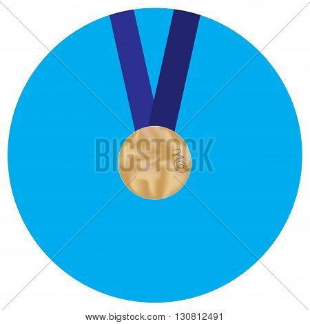 Icon bronze medal. Medal award symbol and metal prize badge achievement. Vector flat design illustration
