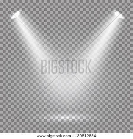 White glowing transparent spotlight background. Vector spotlight background illustration.  Transparent shine spotlight background. Bright lighting effect spotlights. Realistic studio illumination.