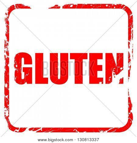 gluten, red rubber stamp with grunge edges